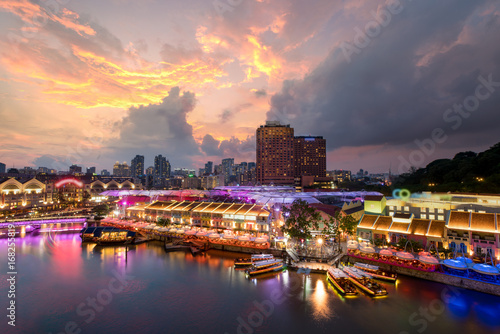 Colorful light building at night in Clarke Quay, Singapore Canvas Print