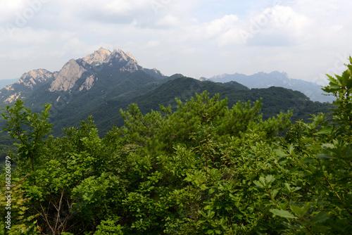 Baegundae peak of Bukhansan Mountain in Bukhansan National Park, is a popular pe Poster