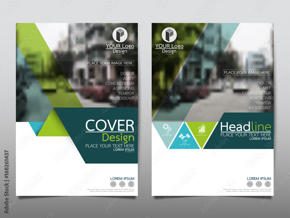 Fototapeta Green flyer cover business brochure vector design, Leaflet advertising abstract background, Modern poster magazine layout template, Annual report for presentation.