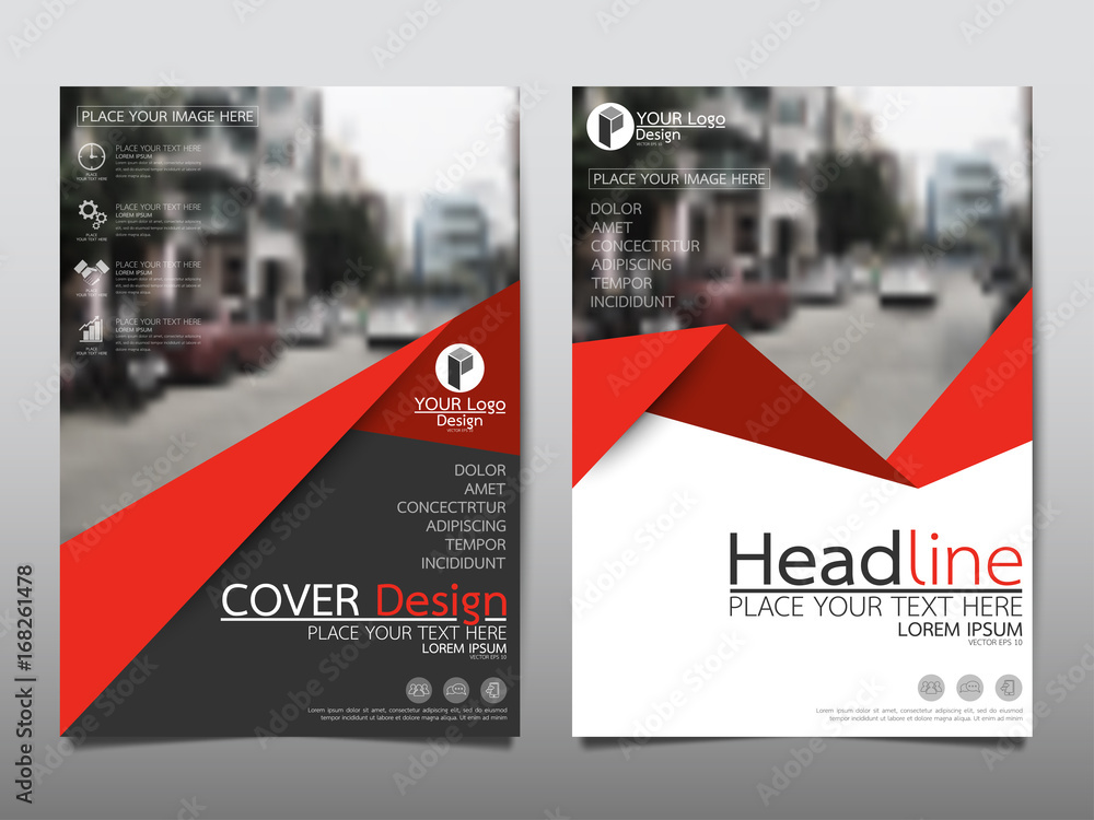 Fototapeta Red flyer cover business brochure vector design, Leaflet advertising abstract background, Modern poster magazine layout template, Annual report for presentation.