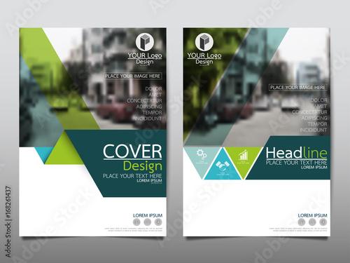 Fototapeta Green flyer cover business brochure vector design, Leaflet advertising abstract background, Modern poster magazine layout template, Annual report for presentation. obraz