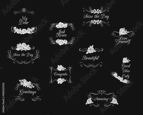 Vectored rose frames with flourishes ink drawn floral ornaments vectored rose frames with flourishes ink drawn floral ornaments black and white flower backgrounds mightylinksfo