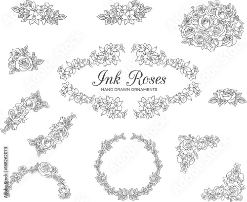 Vectored rose frames ink drawn floral ornaments black and white vectored rose frames ink drawn floral ornaments black and white flower backgrounds mightylinksfo