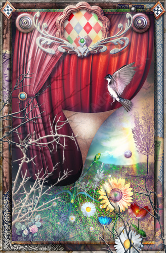 Tuinposter Imagination Magical and surreal circus with a view of the spring
