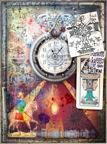 Staande foto Imagination Esoteric background with graffiti,clock,draws and tarots