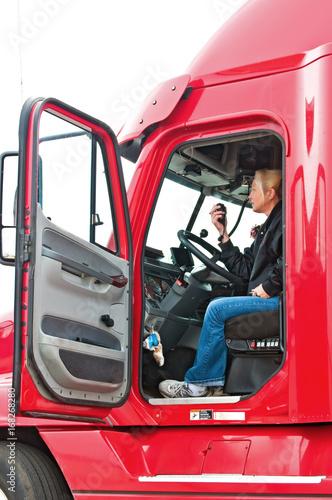 Valokuva  Blonde Woman Truck Driver
