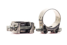 Metal Clamp On White Background.