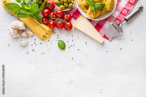 Valokuva Italian food cuisine and ingredients on white concrete table
