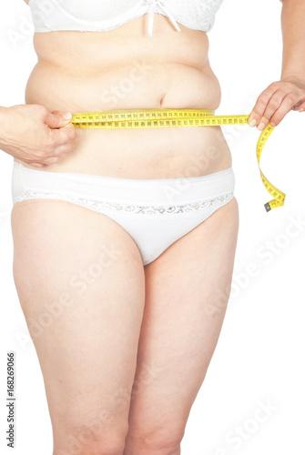 Fotografia, Obraz  Fat woman measuring her stomach