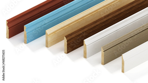 Baseboards with various profiles isolated on white background Wallpaper Mural
