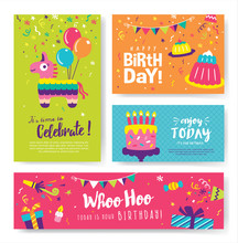 Set Of Colourful Birthday Card...