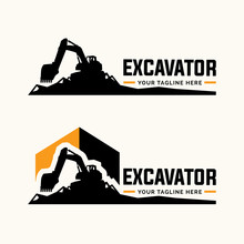 Excavator And Backhoe Logo Tem...