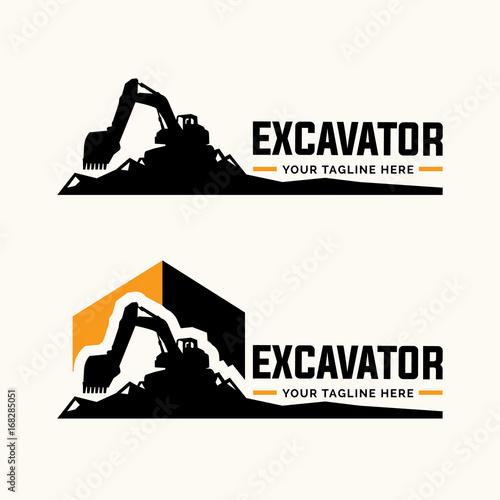 Photo Excavator and backhoe logo template.