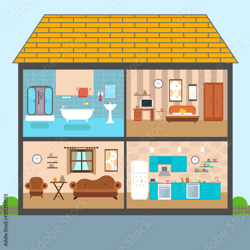 Set of vector interiors with furniture and equipment. Design a ...