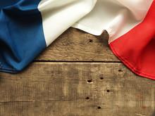 Französische Flagge Auf Holz