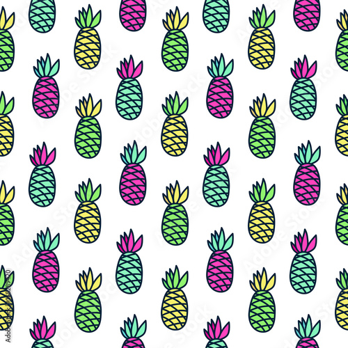 Cadres-photo bureau Aquarelle la Nature Seamless summer pattern with pineapple on a white background. It can be used for packaging, wrapping paper, textile and etc.