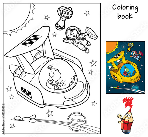 In de dag Cartoon draw A space traveler with a suitcase catches a taxi. Coloring book. Cartoon vector illustration