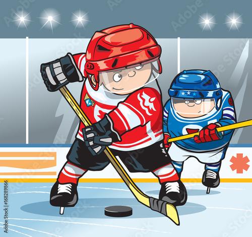 Two Hockey Players On The Hockey Field Cartoon Vector Illustration Buy This Stock Vector And Explore Similar Vectors At Adobe Stock Adobe Stock