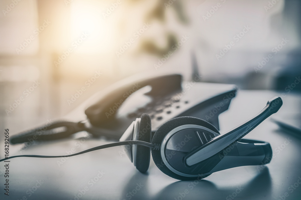 Fototapeta Communication support, call center and customer service help desk.