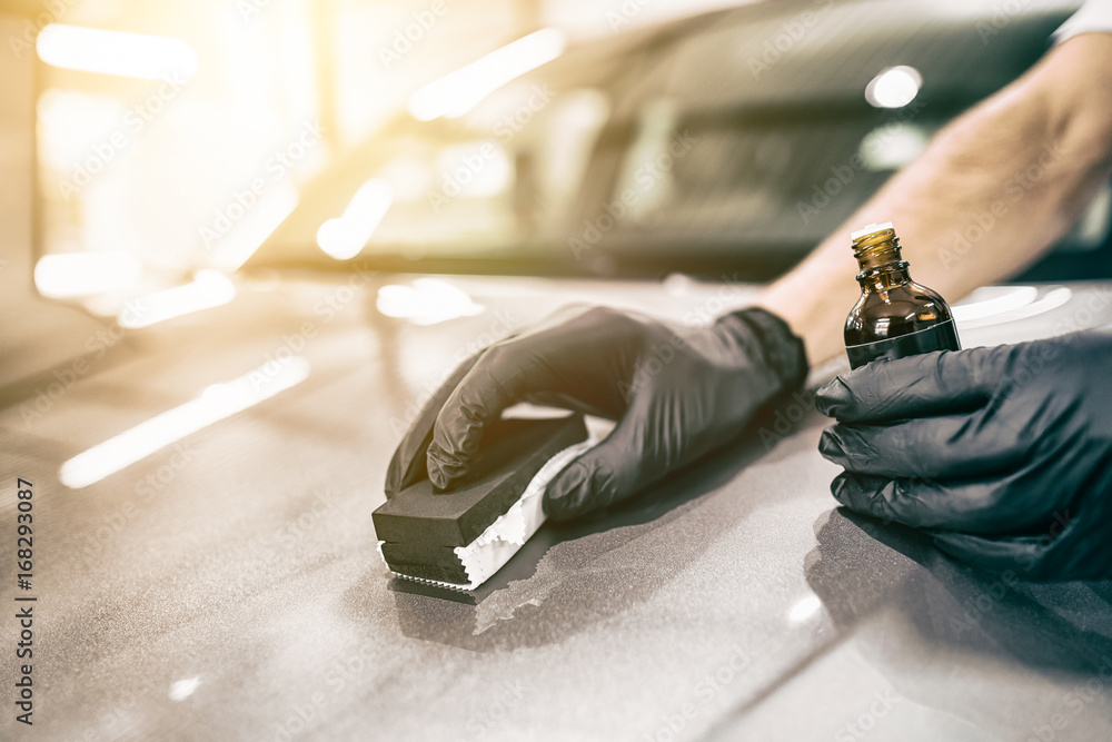 Fototapety, obrazy: Car detailing concept. Auto cleaning and polish.