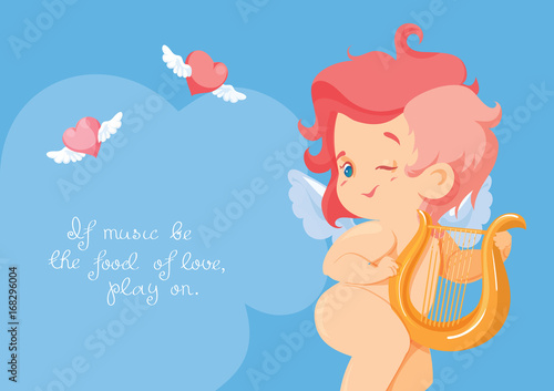 Foto op Canvas Regenboog Cupid playing love song music on hurp.