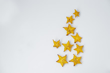 Close-up Photo Of Star Fruit Or Carambola Slices On The White Background.