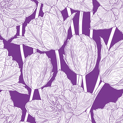 FototapetaHand drawn vector illustration Seamless pattern with decorative doodle tulips hand drawn in lines. Vector illustration