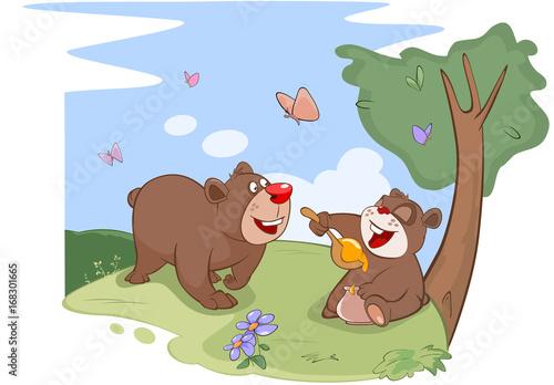 Deurstickers Babykamer Illustration. All Bears Love Honey