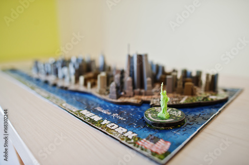 Map Of New York 3d.Close Up Photo Of A 3d New York City Map Assembled From Puzzles