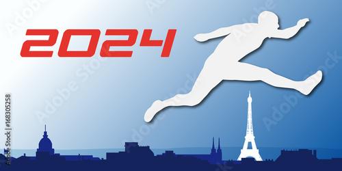 Poster  Paris - 2024 - Jeux Olympique - sport - France -affiche