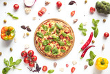 italian pizza and ingredients - 168308447