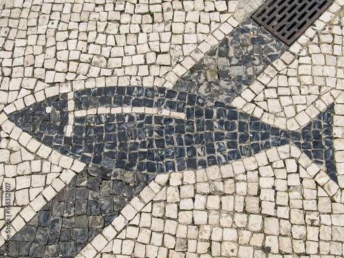 Traditional portuguese pavement (calcada portuguesa) with a fish detail in Faro, Poster