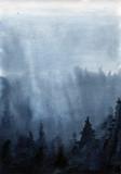 Chmury niebo krajobraz akwarela - 168314461