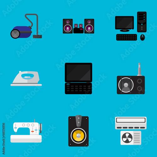 Fotografie, Obraz  Set Of 9 Editable Tech Flat Icons