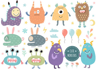Naklejka Do pokoju dziecka Vector set of cute monsters. Funny characters isolated elements. Vector illustration