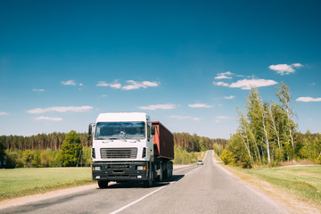 Truck In Motion On Country Road. Motion Cars On Freeway In Europe