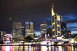 Frankfurt city skyline at night.