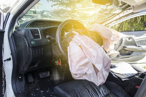 Car of accident Make airbag explosion damaged at claim the insurance company Wallpaper Mural