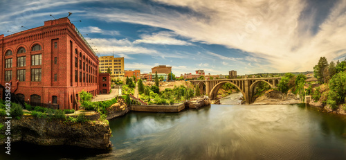 Washington Water Power building and the Monroe Street Bridge along the Spokane river