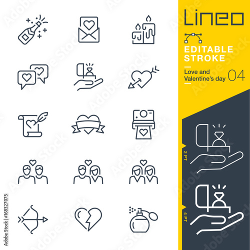 Lineo Editable Stroke - Love and Valentine's day line icons Vector Icons - Adju Fototapet