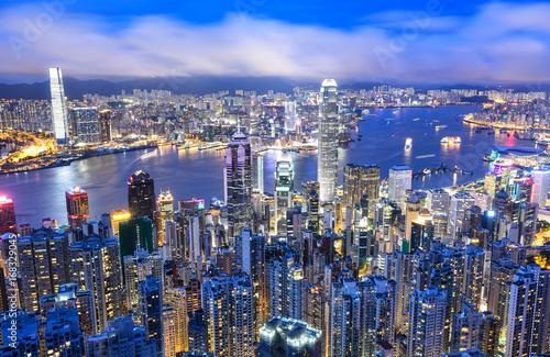 Poster Australie Panorama view of Hong Kong city skyline at night