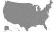 Map of the United States of America split into individual states. Displaying postal codes for each state.