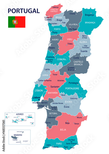 Fotografía Portugal - map and flag illustration