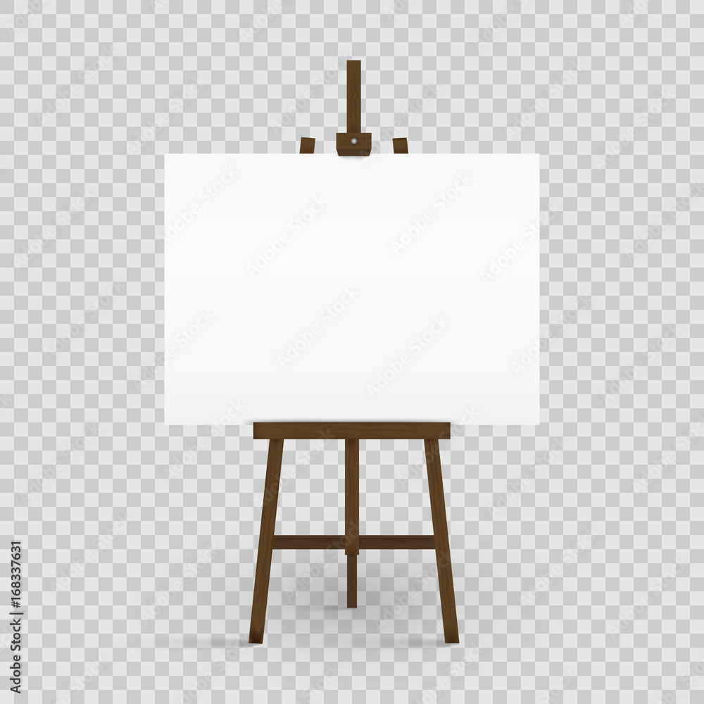 Fototapeta Blank canvas on a artist' easel. Blank art board and wooden easel isolated on transparent background. Vector illustration.