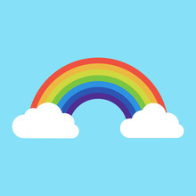 Rainbow With Clouds Icon. Isolated On Background. Vector Illustration.