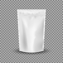 Blank Foil Food Or Drink Bag Packaging with valve and seal. Blank Foil plastic pouch coffee bag. Packaging template mockup collection. isolated on transparent background. Vector illustration.