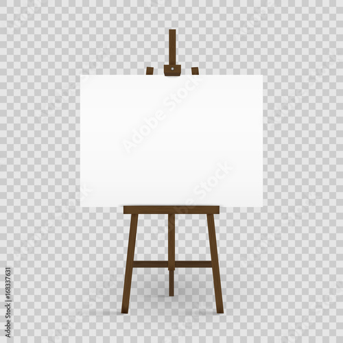 Photo  Blank canvas on a artist' easel