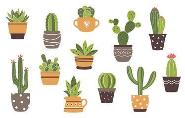 Vector set ručno izvučenih izoliranih kaktusa i sukulenata. Slatki zeleni kaktus u saksijama.