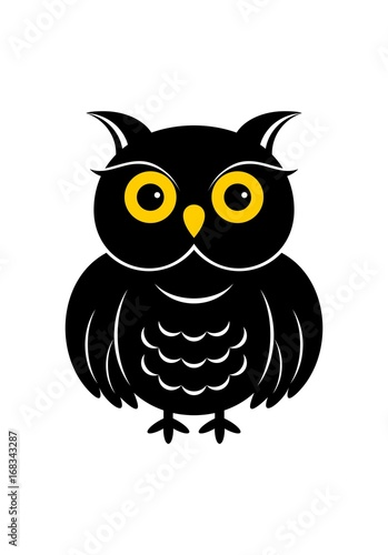 Photo Stands Owls cartoon Halloween owl icon or logo in modern line style. Vector illustration.