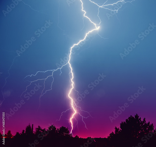 Printed kitchen splashbacks Storm Powerful Lightning Strikes ,colorful thunder sky